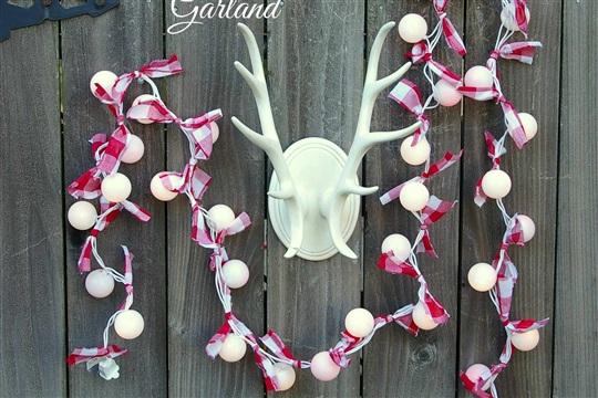 Red + White Buffalo Check Christmas Light Garland
