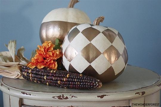 5 Days of Pumpkins Checkered Gold Painted Pumpkin