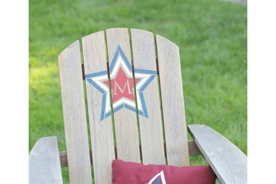 Stenciled Adirondack Chair and Pillow