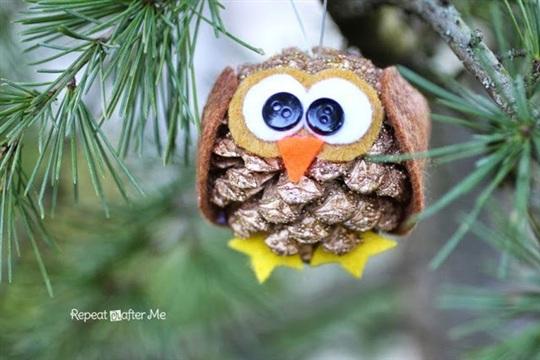 Pinecone Owl Ornament