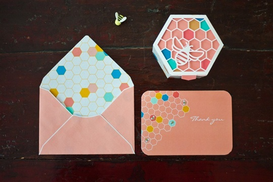 Geometric Bee Invitation Suite