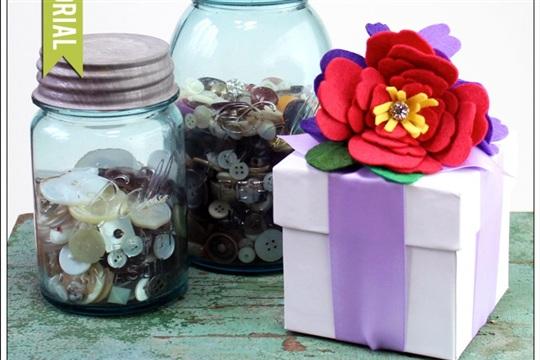 Felt Camellia Gift Box by Karin Jordan