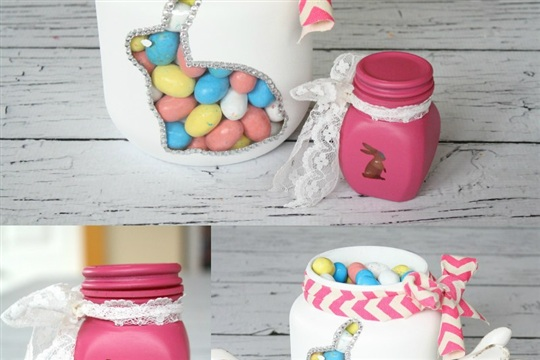 Painted Bunny Jars