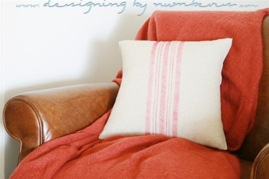 DIY Vintage Grain Sack No Sew Pillow Cover Monthly Contributor Project