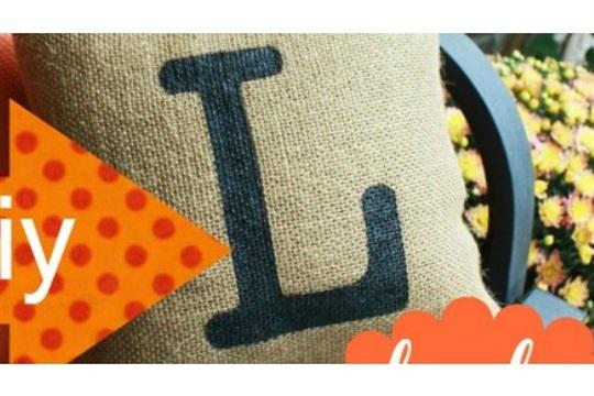 DIY Monogrammed Burlap Pillow Cover