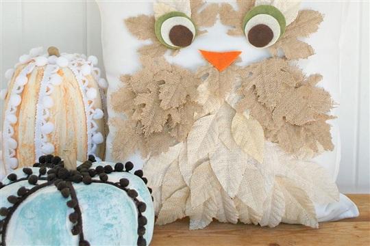 Fall Burlap Leaf Owl Pillow