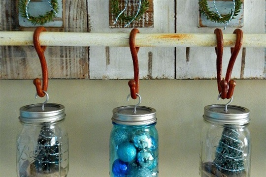 Make it a Coastal Christmas with Hanging Mason Jars