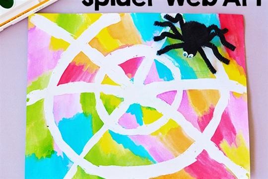 Water Color Resist Spider Web Kids Art