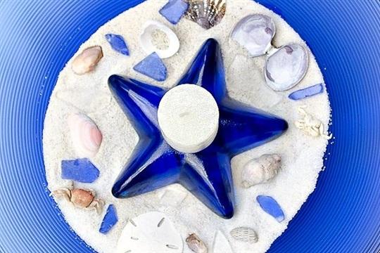 Thrift Store Blue Glass Bowl Becomes Seashore Vignette