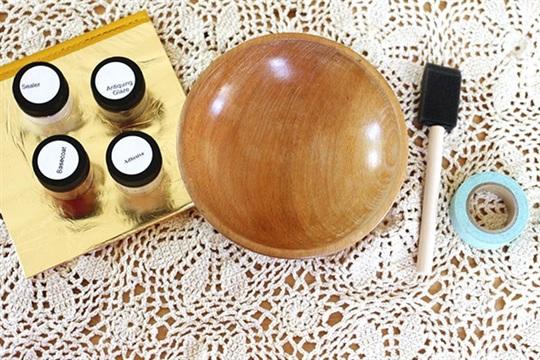 Diy gold leafed wooden bowl
