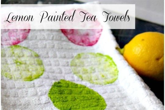 DIY Lemon Painted Tea Towels