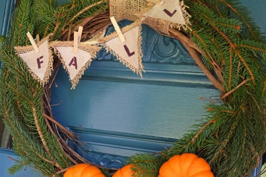 Burlap and Pumpkin DIY Natural Fall Wreath